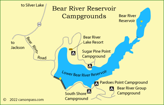 map of Bear River Reservoir area campgrounds on Carson Pass, CA