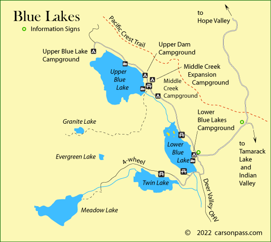 map of Blue Lakes area campgrounds on Carson Pass, CA