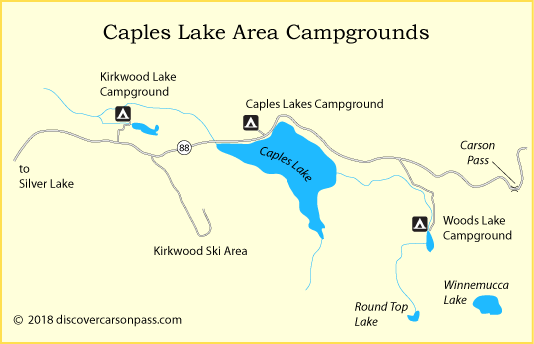 map of Caples Lake area campgrounds on Carson Pass, CA