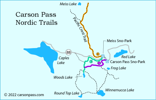 map of cross country ski trails on Carson Pass, CA
