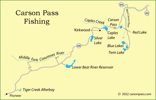 map of fishing locations on Carson Pass, CA
