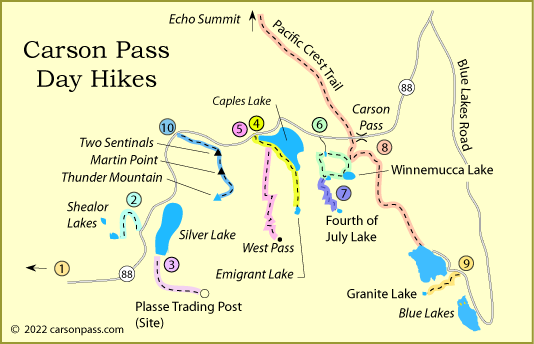 map of day hiking trails on Carson Pass, CA