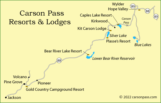 map of Carson Pass resorts