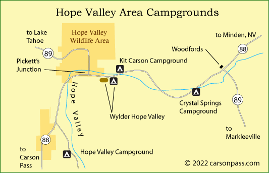 map of Hope Valley area campgrounds on Carson Pass, CA