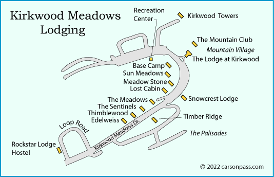 map of lodging in Kirkwood Meadows