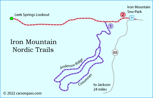 map of cross country ski trails near Iron Mountain on Carson Pass, CA