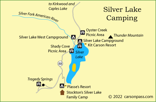 map of Silver Lake area campgrounds on Carson Pass, CA