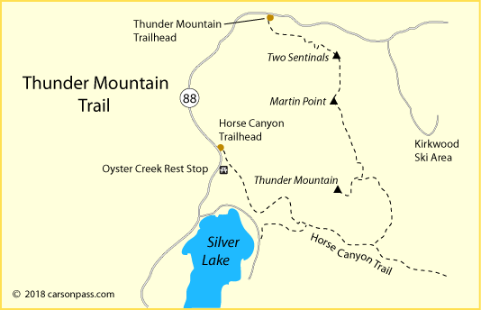 map of Thunder Mountain Trail at Silver Lake on Carson Pass, CA