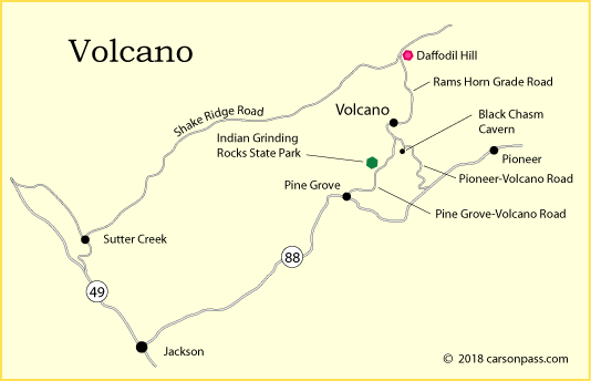 map of Volcano, CA and Daffodil Hill