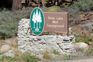 sign for Silver Lake West Camnpground at Silver Lake, near Carson Pass, CA